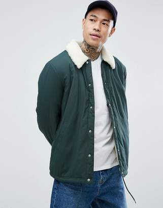 Asos Coach Jacket With Fleece Lining In Bottle Green