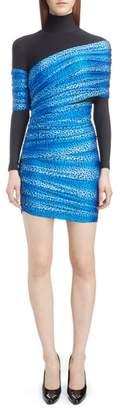 Balenciaga Cheetah Print Overlay Body-Con Dress