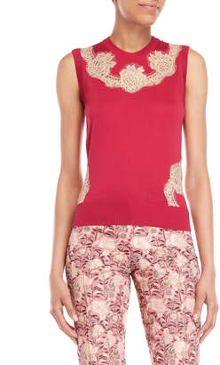 Dolce & Gabbana Lace Trim Knit Silk Tank Top