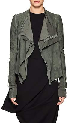 Rick Owens Women's Draped-Front Blistered Leather Biker Jacket