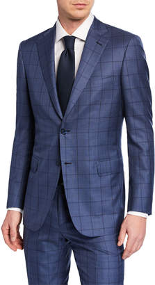 Brioni Men's Windowpane Wool-Silk Two-Piece Suit