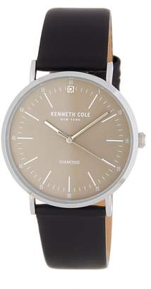 Kenneth Cole New York Men's 3-Hand CZ Accented Leather Strap Watch, 35mm