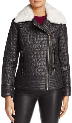 Via Spiga Faux Fur Trim Quilted Moto Jacket