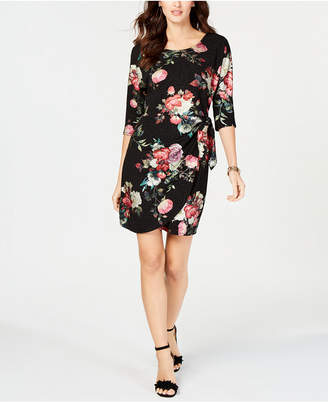 Robbie Bee Petite Floral-Printed Faux-Wrap Dress