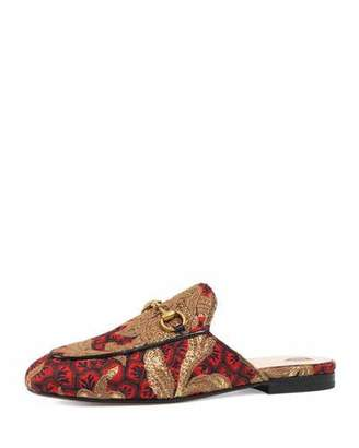 Gucci Princetown Jacquard Horsebit Mule, Red/Gold $695 thestylecure.com