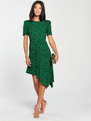 Very ITY Asymmetric Skater Dress - Green
