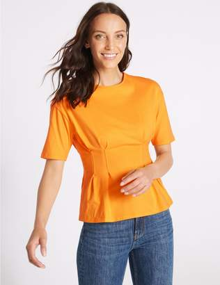 Marks and Spencer Pure Cotton Round Neck Short Sleeve Top