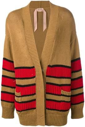 No.21 stripe pattern cardi-coat