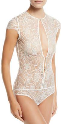 Kiki de Montparnasse Coquette Floral-Lace Keyhole Bodysuit Bridal Lingerie