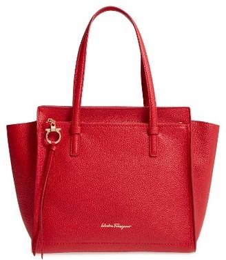 Salvatore Ferragamo Amy Leather Tote - Red $1,250 thestylecure.com