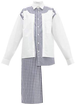 J.W.Anderson Gingham Panelled Cotton Shirt - Womens - Blue White