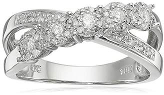 10k White Gold Crisscross Diamond Ring (1/3 cttw