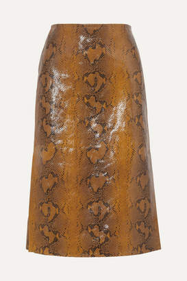 Marni Snake-effect Leather Skirt - Brown