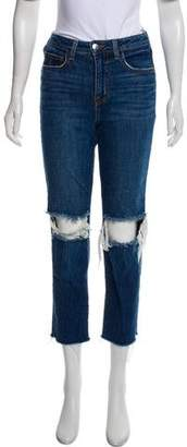 L'Agence Distressed Mid-Rise Straight-Leg Jean
