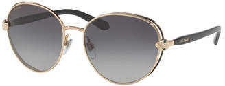 Bvlgari Serpenti Round Open-Inset Sunglasses, Gold/Black