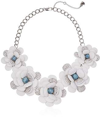 Betsey Johnson Women's La La Large Pave Flower Statement Frontal Necklace