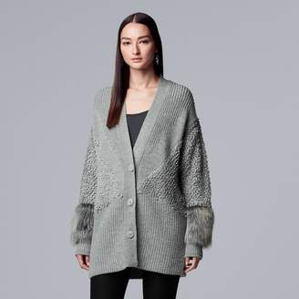 Vera Wang Women's Simply Vera Faux-Fur Trim Sweater Coat