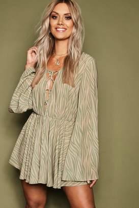 boohoo Plus Zebra Print Chiffon Lace Up Beach Dress