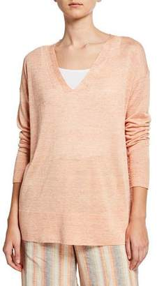 Lafayette 148 New York V-Neck Open-Sided Linen/Viscose Tunic