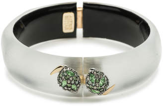 Alexis Bittar Crystal Encrusted Lime Studded Hinge Bracelet