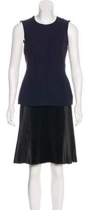 Cédric Charlier Plissé-Accented Sleeveless Dress
