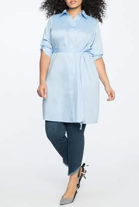 ELOQUII Elbow Sleeve Shirt Dress (Plus Size)
