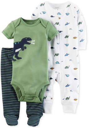 Carter's 3-Pc. Cotton Dinosaur Bodysuit, Coverall & Footed Pants Set, Baby Boys (0-24 months) $12.98 thestylecure.com