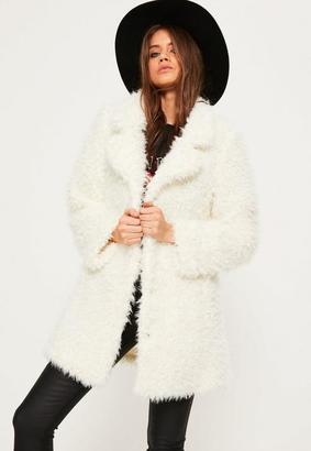 White Shaggy Faux Fur Coat $88 thestylecure.com