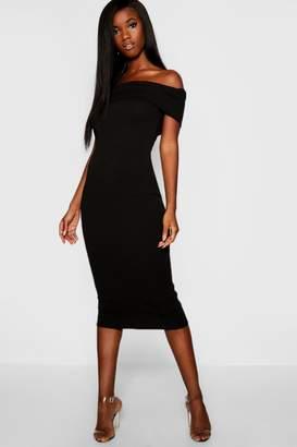 boohoo Off The Shoulder Bodycon Midaxi Dress