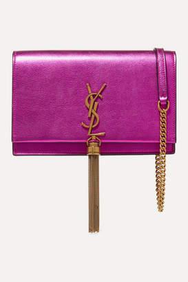 Saint Laurent Kate Small Metallic Textured-leather Shoulder Bag - Magenta