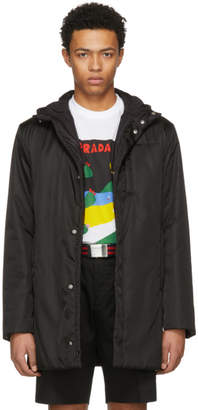 Prada Black Hooded Side Zip Coat