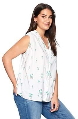 NYDJ Women's Plus Size Sleeveless Button Detail Top