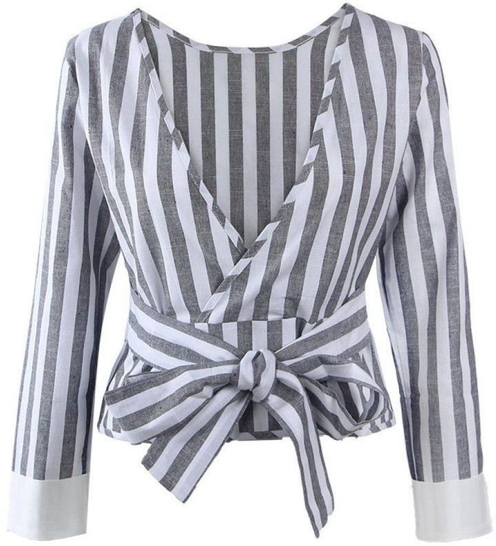 Tenworld Women Long Sleeve Sexy Backless Loose Striped Shirt Blouse Tops (S, )