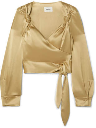 Nanushka - Selena Satin Wrap Top - Gold