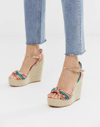3a6d9a5f1 Glamorous multicoloured espadrille wedge sandals