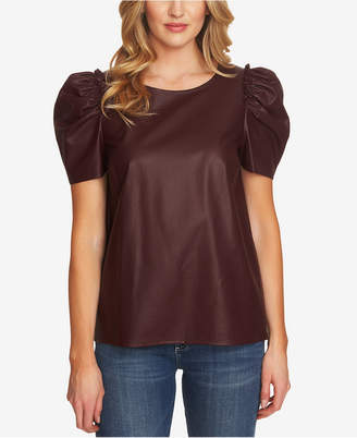 CeCe Puff-Sleeve Faux-Leather Blouse