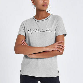 River Island Grey front print piped fitted T-shirt