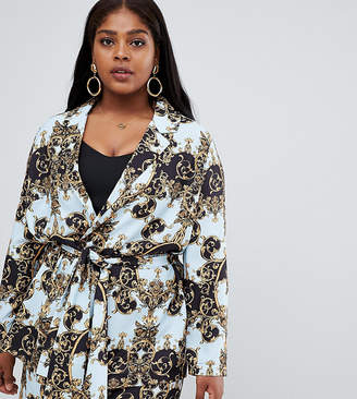 Asos DESIGN Curve tailored soft scarf print relaxed blazer