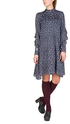 Replay Women's W9504a.000.71554 Dress, Multicolour (White/Lt Dk Grey/Blue 10), X-Large