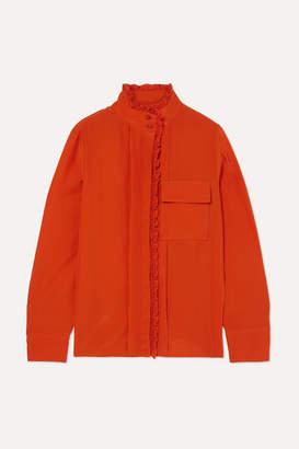 Chloé Ruffled Silk Crepe De Chine Shirt - Orange