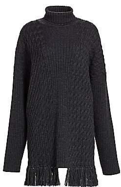 Vetements Women's Cable Knit Turtleneck Wool Fringe Sweater