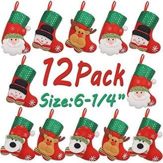 LimBridge 12pcs Mini Christmas Stockings Gift & Treat Bag