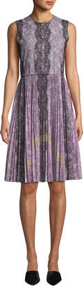 Gucci Button-Down Lace Dress with Pleated Skirt