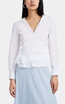 Barneys New York Women's Cotton Poplin Wrap-Effect Shirt - White