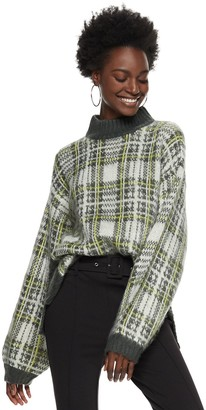 Nine West Women's Plaid Boxy Sweater