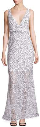 Nicholas Women's French Lace Deep V-Neck Gown