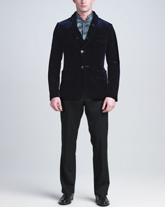 Giorgio Armani Stretch-Silk Mandarin-Collar Shirt