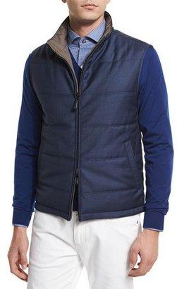 Ermenegildo Zegna Reversible Wool Vest, Medium Blue/Beige $1,595 thestylecure.com