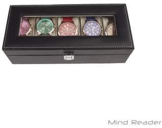 Mind Reader Watch Box Organizer Case, Fits 5 Watches, Mens Jewelry Display Drawer Storage, PU Leather, Black