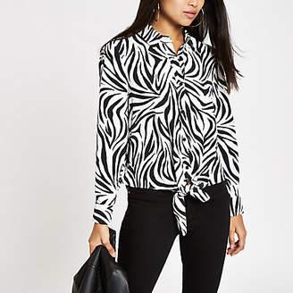 River Island Womens Petite White zebra print tie front shirt